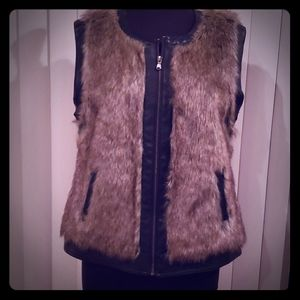 BKE faux fur vegan leather vest  zip up